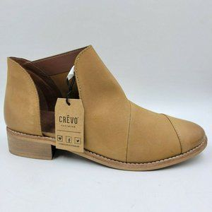 NEW Crevo Coralie Brown Leather Captoe Ankle Boots